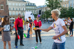 Participants at the 28th International Festival of Street Theatres. Royalty Free Stock Photo