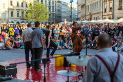 Participants at the 28th International Festival of Street Theatres. Stock Photos