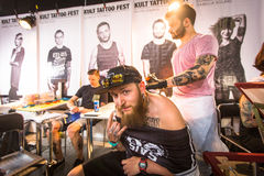 Participants at 10-th International Tattoo Convention in Congress-EXPO Center. Royalty Free Stock Photography