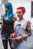 Participants at 10-th International Tattoo Convention in Congress-EXPO Center. Stock Photography