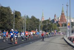 Participants of 5th Moscow Marathon Stock Photo