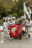 Participants With Toolbox Themed Car Prepare For Soap Box Derby. Atlanta, GA, USA - October 24, 2015: Competitors dressed like metal bolts and a giant wrench royalty free stock photo