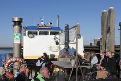 Participants of a tour of Nature monuments on a boat in Harlingen. Netherlands Stock Photo