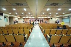 Participants of tour of Santiago Bernabeu stadium stock photos