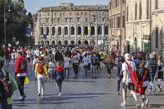 Participants in the town Rome Marathon Royalty Free Stock Images