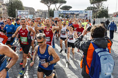 Participants in the town Rome Marathon Stock Photos