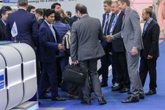 A crowd of business people at the gas forum. Stock Photography