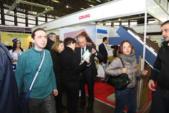 Participants and visitors of an open exhibition-real estate seminar Housing project Stock Images