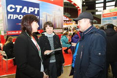 Participants and visitors of an open exhibition-real estate seminar Housing project Stock Image