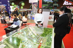 Participants and visitors of an open exhibition-real estate seminar Housing project Stock Photos