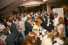 Participants and visitors to the business exhibition of manufacturers and suppliers of italian wines and food  vinitaly Royalty Free Stock Image