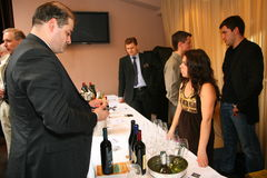 Participants and visitors to the business exhibition of manufacturers and suppliers of italian wines and food  vinitaly Stock Image