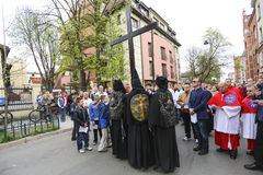 Participants of the Way of the Cross on Good Friday celebrated at the historic center of Krakow. Stock Photography