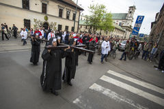 Participants of the Way of the Cross on Good Friday celebrated at the historic center of Krakow. Stock Photos