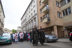 Participants of the Way of the Cross on Good Friday celebrated at the historic center of Krakow. Royalty Free Stock Photography