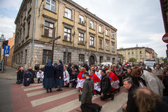 Participants of the Way of the Cross on Good Friday celebrated at the historic center of Krakow. Royalty Free Stock Photo