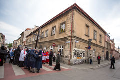 Participants of the Way of the Cross on Good Friday celebrated at the historic center of Krakow. Stock Images
