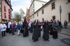 Participants of the Way of the Cross on Good Friday celebrated at the historic center of Krakow. Royalty Free Stock Image