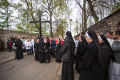 Participants of the Way of the Cross on Good Friday celebrated at the historic center of Krakow. Stock Photo