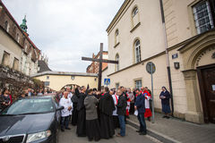 Participants of the Way of the Cross on Good Friday celebrated at the historic center of Krakow. Royalty Free Stock Images