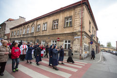 Participants of the Way of the Cross on Good Friday celebrated at the historic center of Krakow. Stock Image
