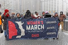 Muti-generation women at the 2019 Women`s March in Cleveland, Ohio, USA. Participants in the 2019 Women`s March in Cleveland, Ohio, USA prepare to begin their royalty free stock images