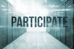 Participate against server hallway in the sky Royalty Free Stock Image