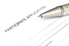 Participate application form Stock Photos