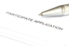 Participate application form Stock Images