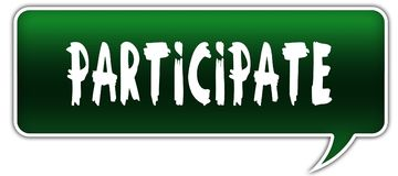 PARTICIPATE on green dialogue word balloon. Illustration stock illustration