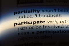 Participate. Word in a dictionary.  concept royalty free stock images