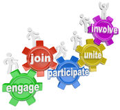 Participate People Climbing Gears Join Engage Involve. A team of people marching up gears with words Engage, Join, Participate, Unite and Involve to illustrate Stock Photo