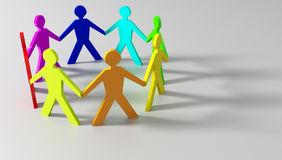 Participation. Paper participation dolls on gray background Royalty Free Stock Image