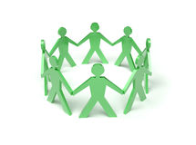 Participation. Paper dolls group in circle  isolated on white Royalty Free Stock Photo