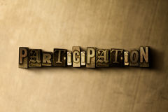 PARTICIPATION - close-up of grungy vintage typeset word on metal backdrop Stock Photo