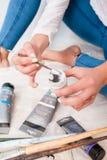 Participation de la vue supérieure de peinture blanche Photographie stock