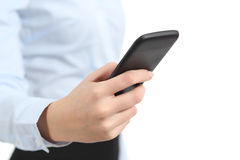 Participation de main de femme d'affaires et à l'aide d'un téléphone intelligent Photographie stock