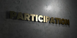 Participation - Gold text on black background - 3D rendered royalty free stock picture Stock Image
