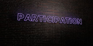 PARTICIPATION -Realistic Neon Sign on Brick Wall background - 3D rendered royalty free stock image Stock Photo