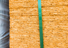 Particle board wood at construction site Stock Photo