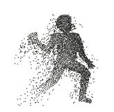 Particle divergent silhouette of american football player jumping with a ball. Vector character illustration vector illustration