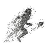 Particle divergent silhouette of american football player. Vector character illustration vector illustration