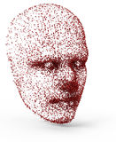Particle head. Red head created from red particle isolated Royalty Free Stock Images