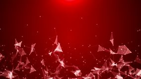 Particle motion and glow triangles on red screen. Full HD - 1920*1080n- duration 30 seconds vector illustration