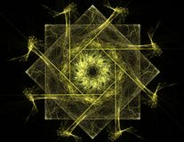 Particles of abstract fractal forms on the subject of nuclear physics science and graphic design. Geometry sacred futuristic quant. Um digital hologram texture Royalty Free Stock Photography