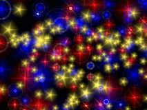 Particles background. Background of blue,red, and yellow golden particle Stock Photos