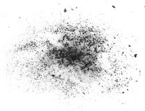 Particles. Of charcoal on a white background stock photography