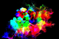 Particles of colored fume in air, 3d illustration. 3d illustration on the abstract theme of beautiful particles Stock Photography