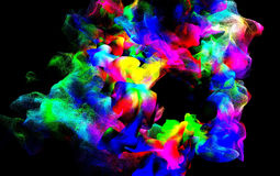 Particles of colored fume in air, 3d illustration Royalty Free Stock Photo