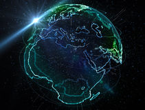 Particles earth map. Earth globe map, illuminated borders edges, particles Stock Photography